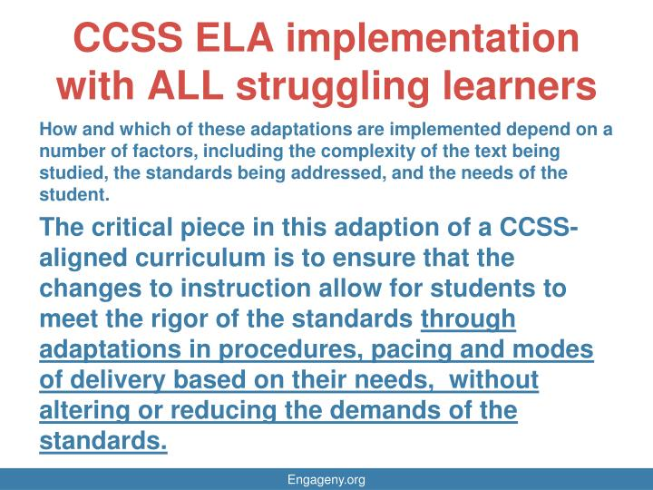 CCSS ELA implementation with ALL struggling learners