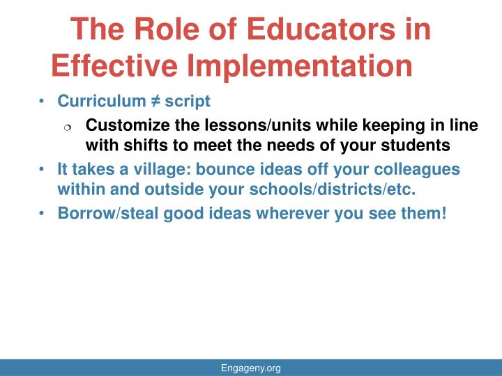 The Role of Educators in Effective Implementation