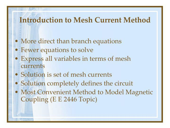 Introduction to mesh current method