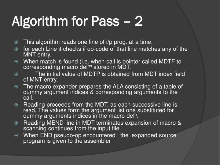 Algorithm for Pass – 2