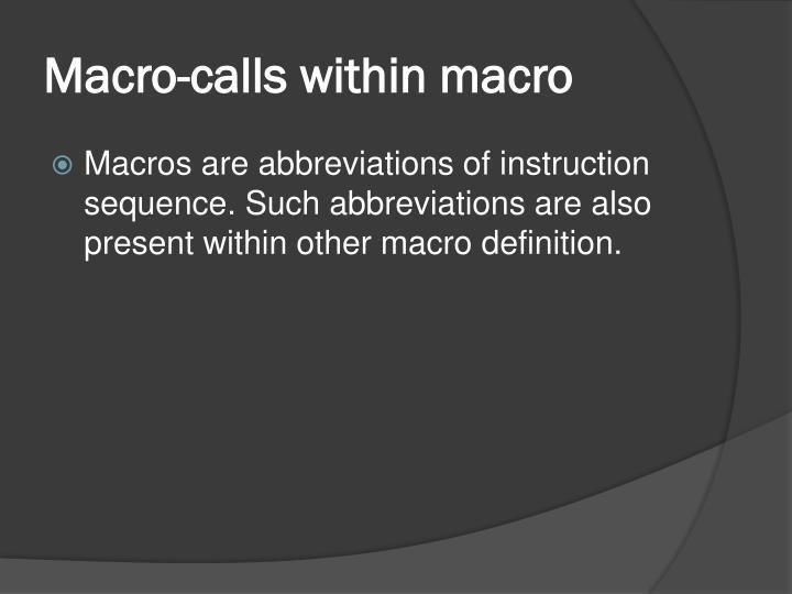 Macro-calls within macro