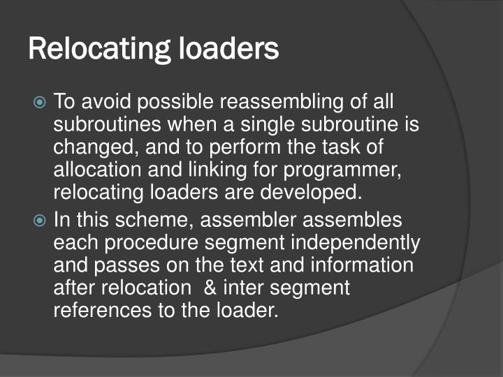Relocating loaders