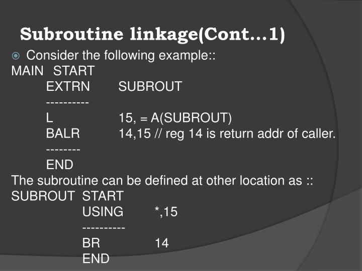 Subroutine linkage(Cont…1)