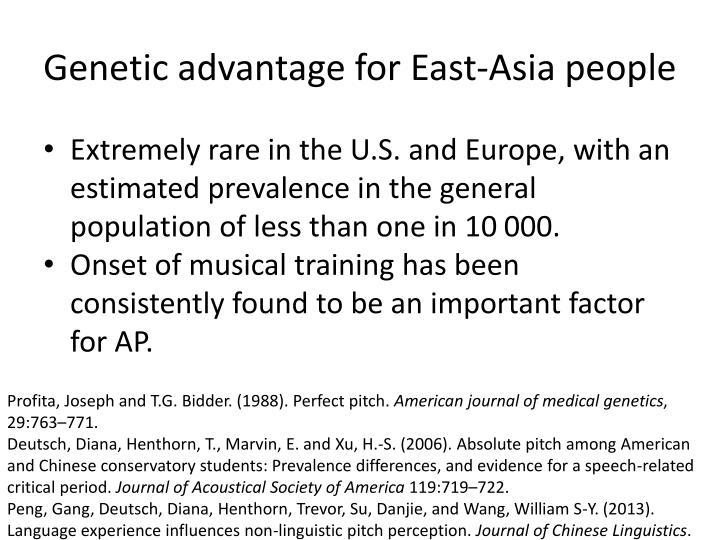 Genetic advantage for East-Asia people