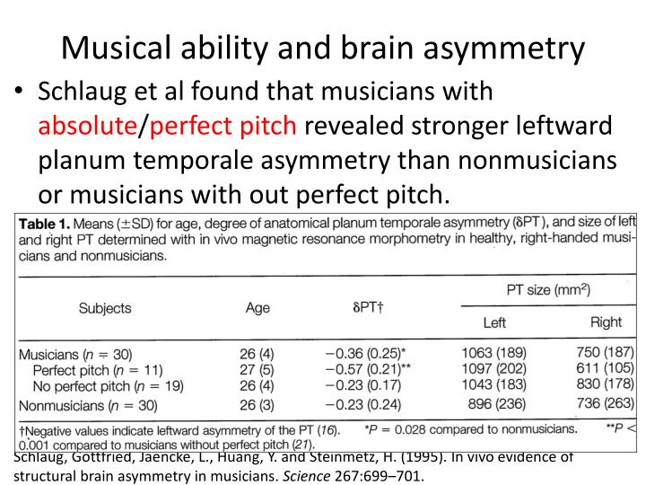 Musical ability and brain asymmetry