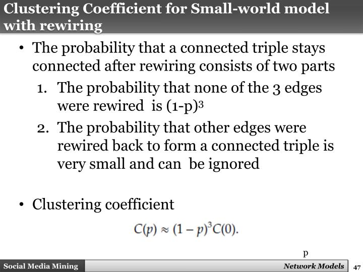 Clustering Coefficient for Small-world model with rewiring