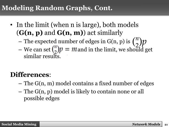 Modeling Random Graphs, Cont.