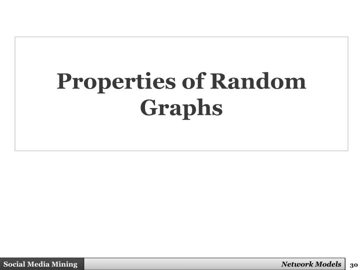 Properties of Random Graphs