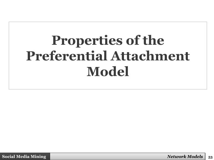 Properties of the Preferential Attachment Model
