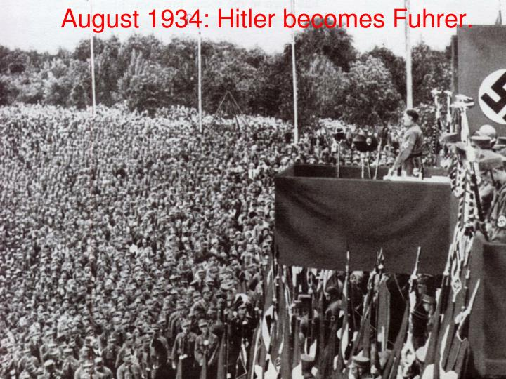 August 1934: Hitler becomes Fuhrer.