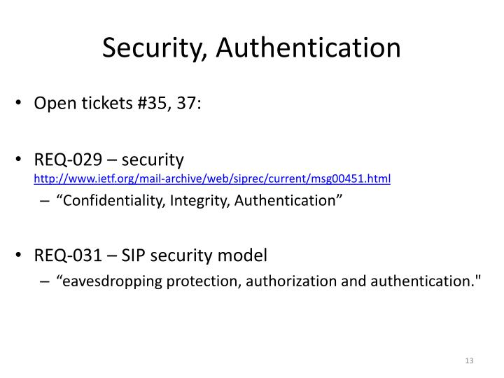 Security, Authentication