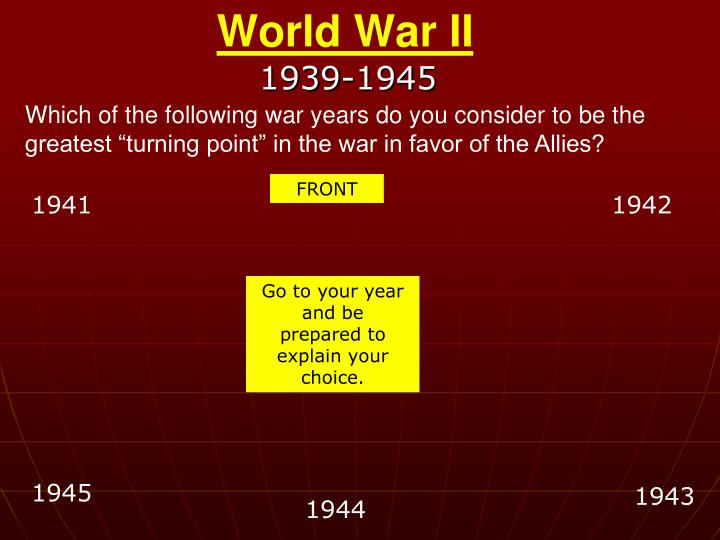 "Which of the following war years do you consider to be the greatest ""turning point"" in the war in favor of the Allies?"