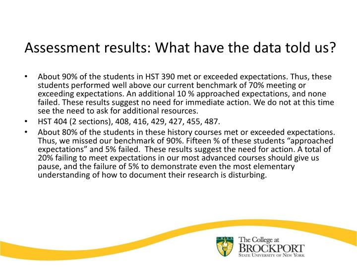 Assessment results: What have the data told us?