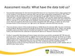 assessment results what have the data told us1