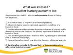 what was assessed student learning outcomes list