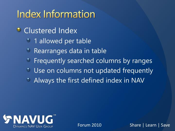 Index Information