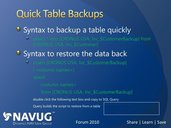 Quick Table Backups