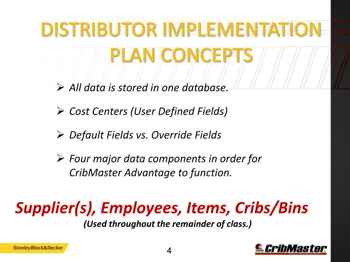 Distributor Implementation Plan Concepts