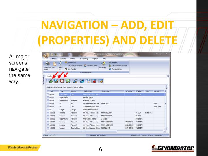 Navigation – Add, Edit (Properties) and