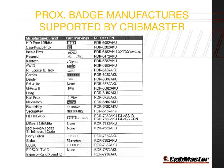 Prox. badge manufactures supported by Cribmaster
