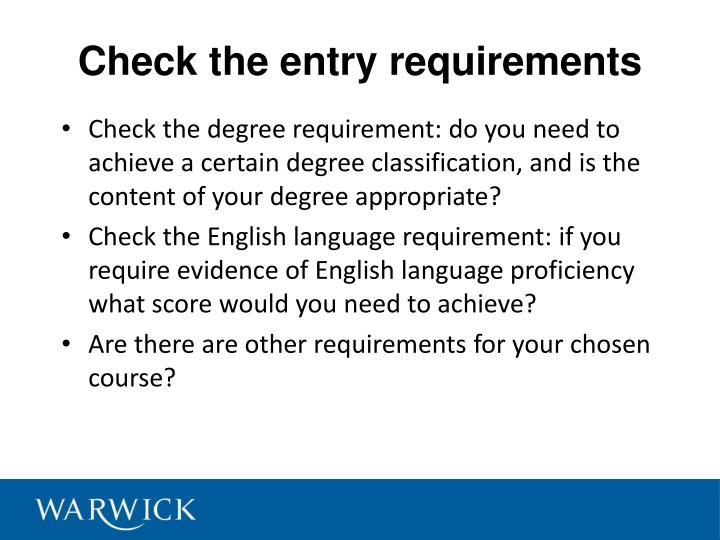 Check the entry requirements