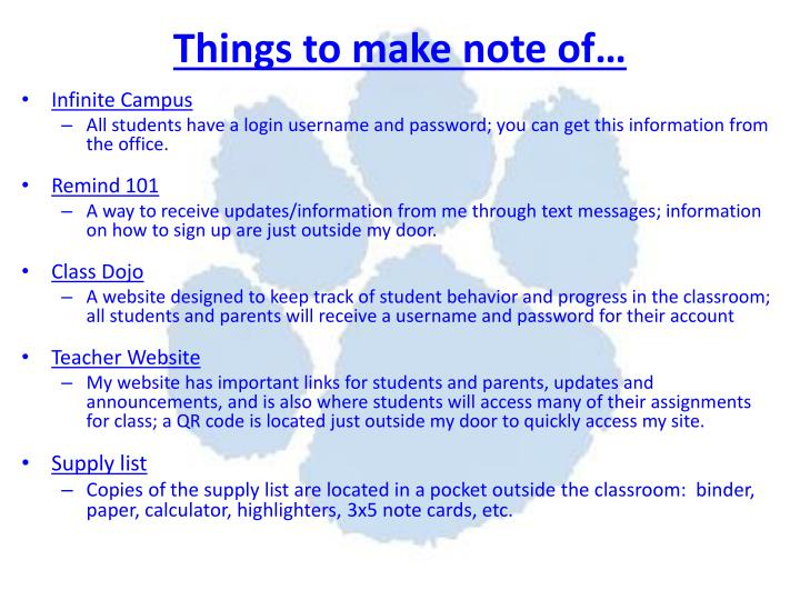 Things to make note of