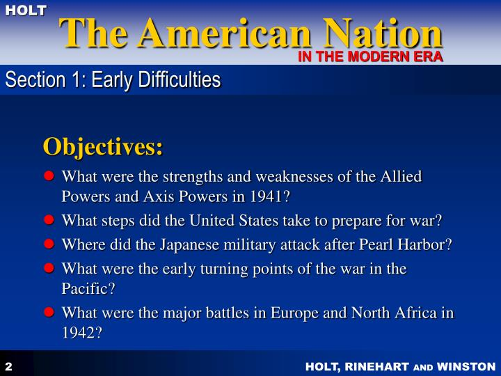 Section 1: Early Difficulties