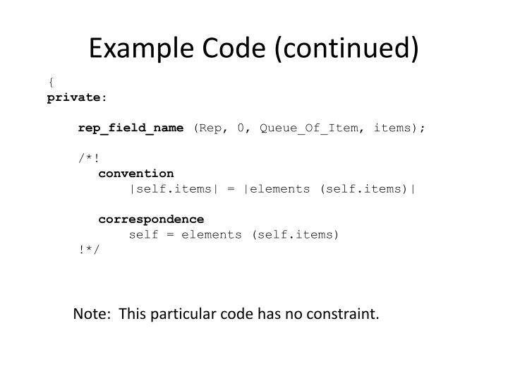 Example Code (continued)