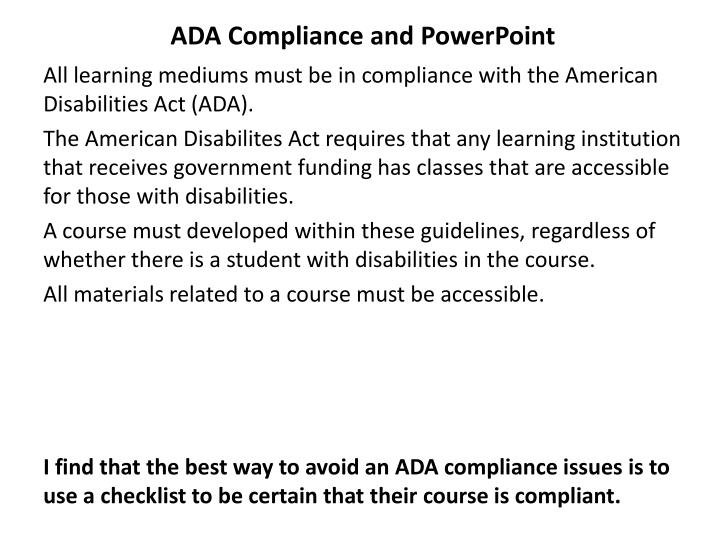ADA Compliance and PowerPoint