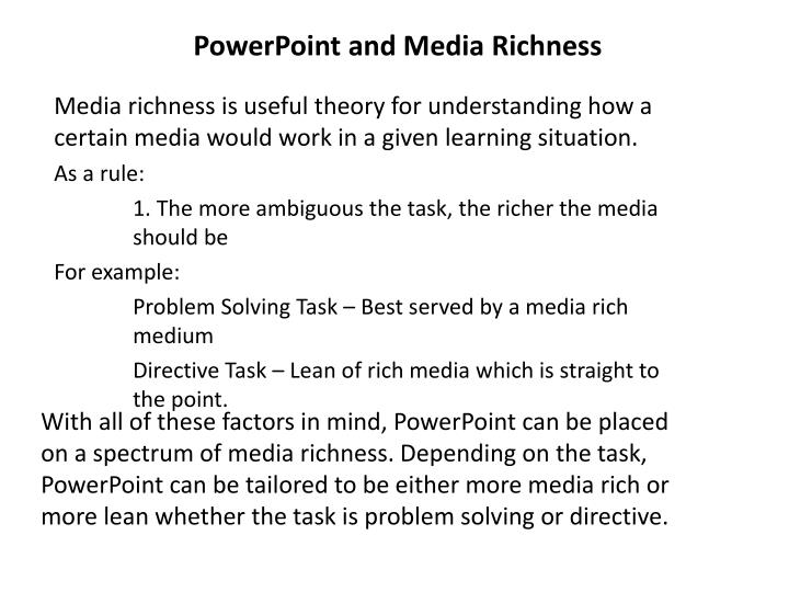 PowerPoint and Media Richness