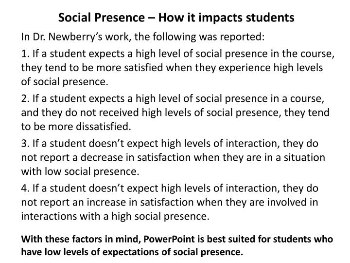 Social Presence – How it impacts students