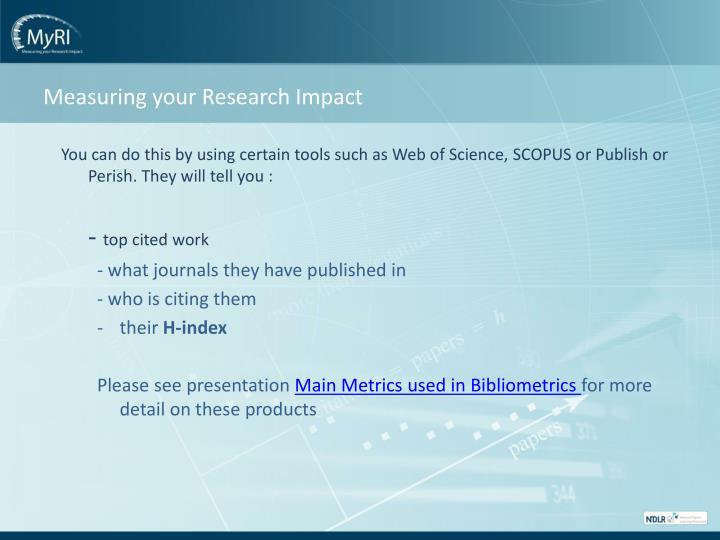 Measuring your Research Impact
