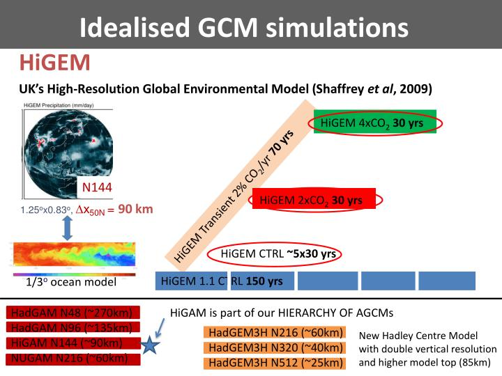 Idealised GCM simulations