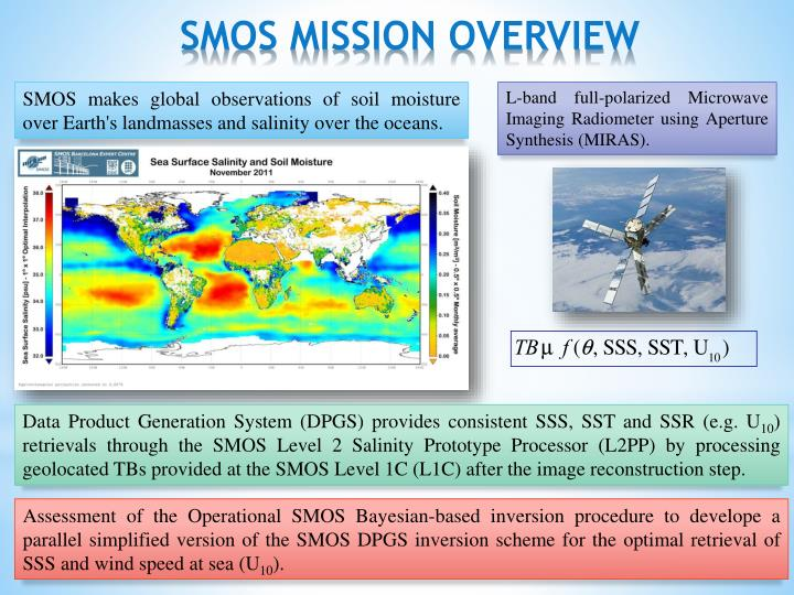 SMOS makes global observations of soil moisture over Earth's landmasses and salinity over the oceans.