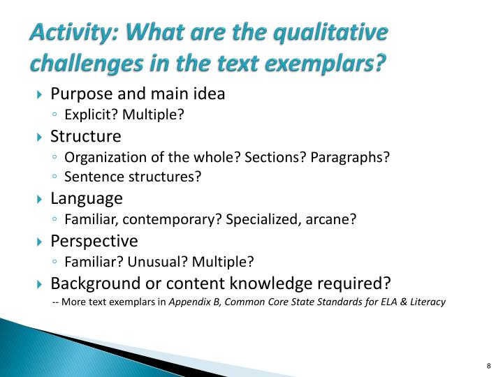 Activity: What are the qualitative challenges in the text exemplars?