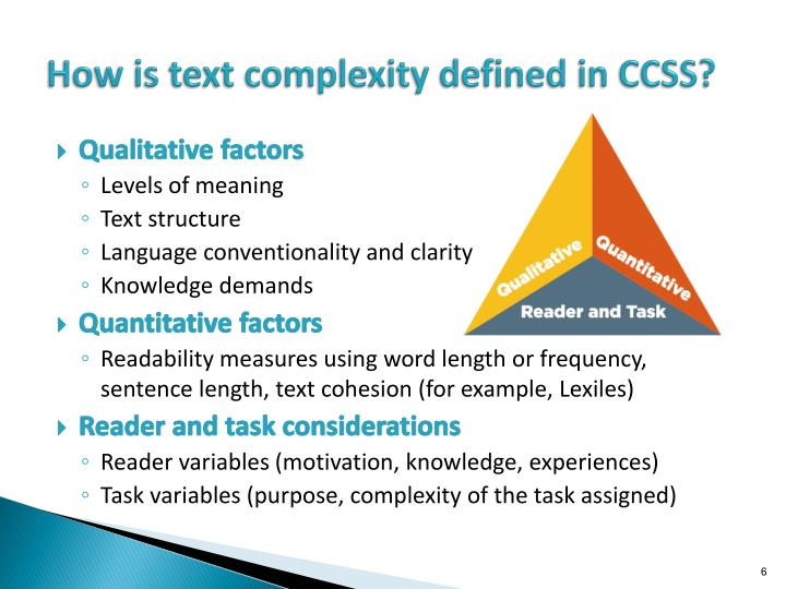 How is text complexity defined in CCSS?
