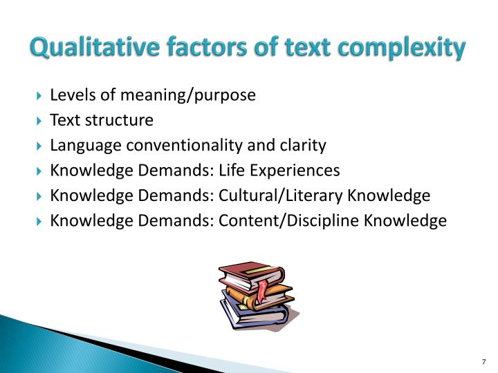 Qualitative factors of text complexity