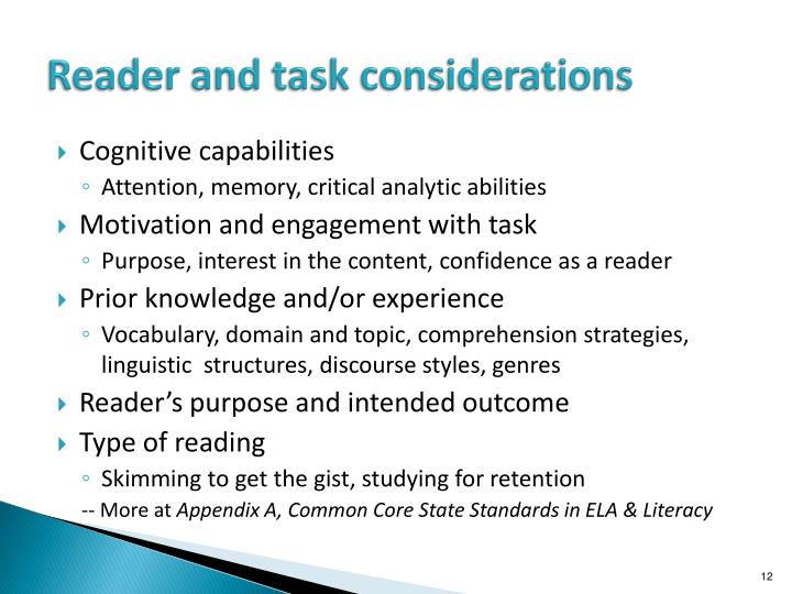 Reader and task considerations