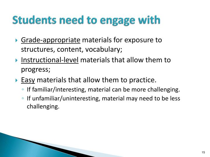 Students need to engage with