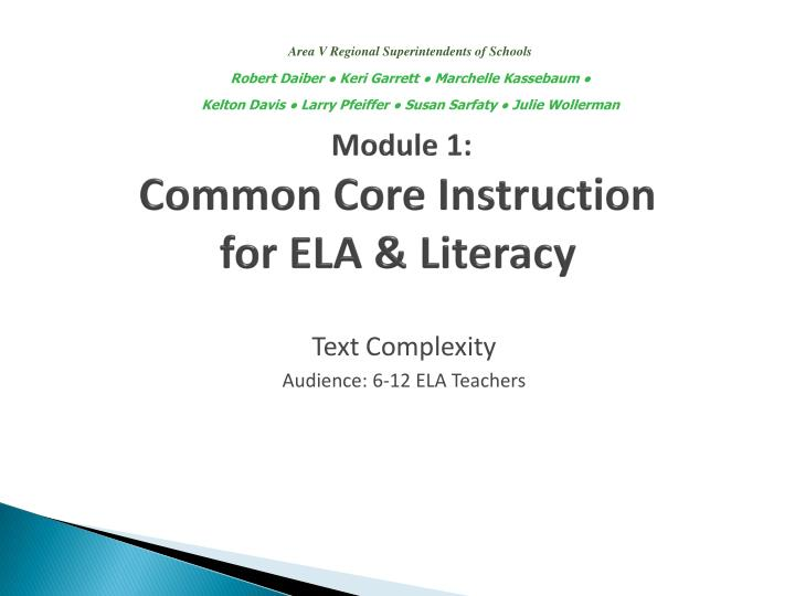 Text complexity audience 6 12 ela teachers