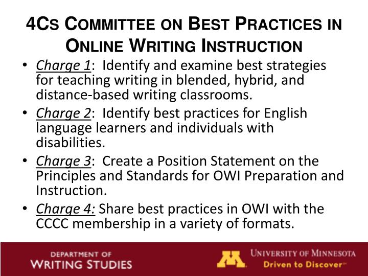 4Cs Committee on Best Practices in Online Writing Instruction