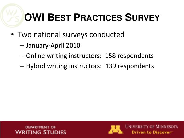 OWI Best Practices Survey