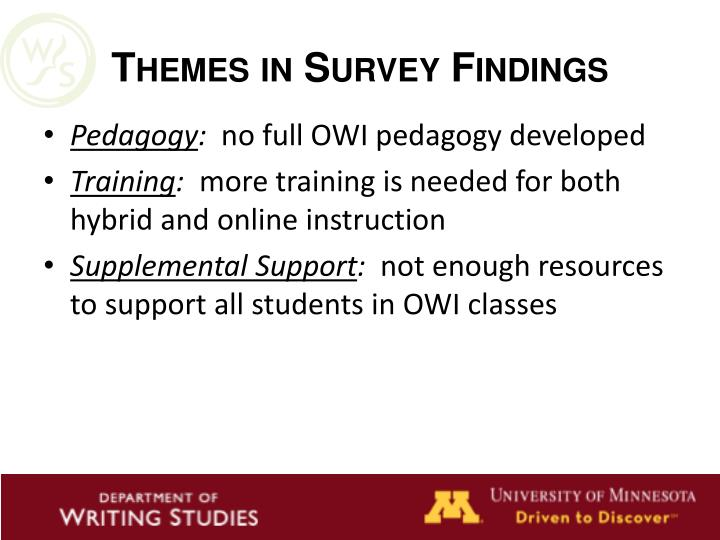 Themes in Survey Findings