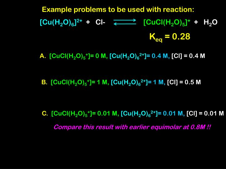 Example problems to be used with reaction: