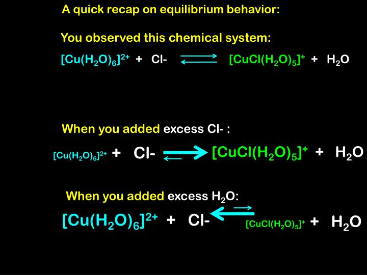 A quick recap on equilibrium behavior: