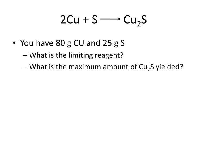 2Cu + S         Cu