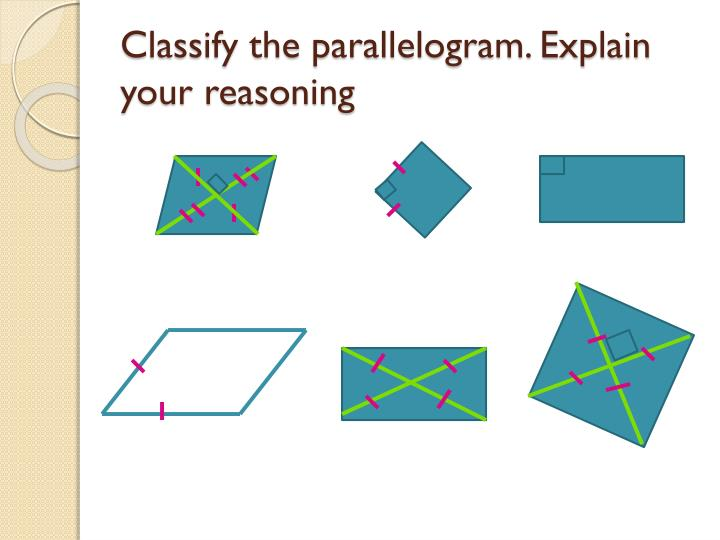 Classify the parallelogram. Explain your reasoning