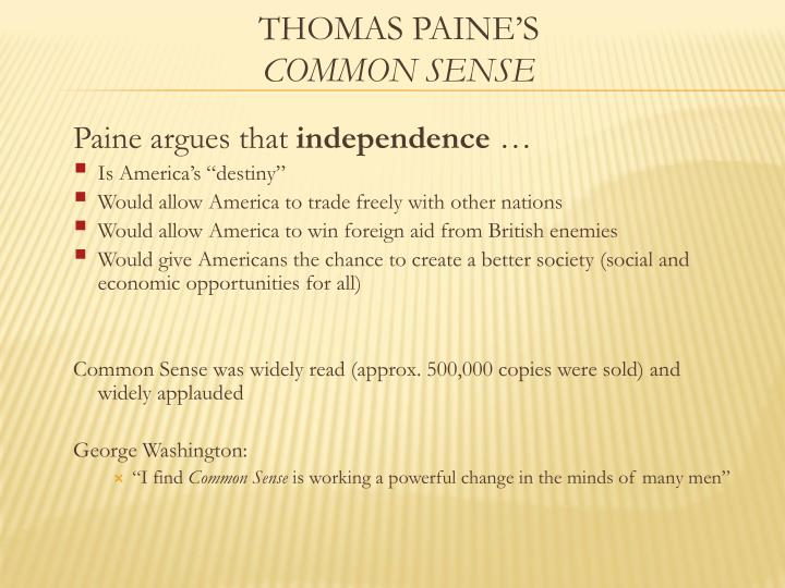 Paine argues that
