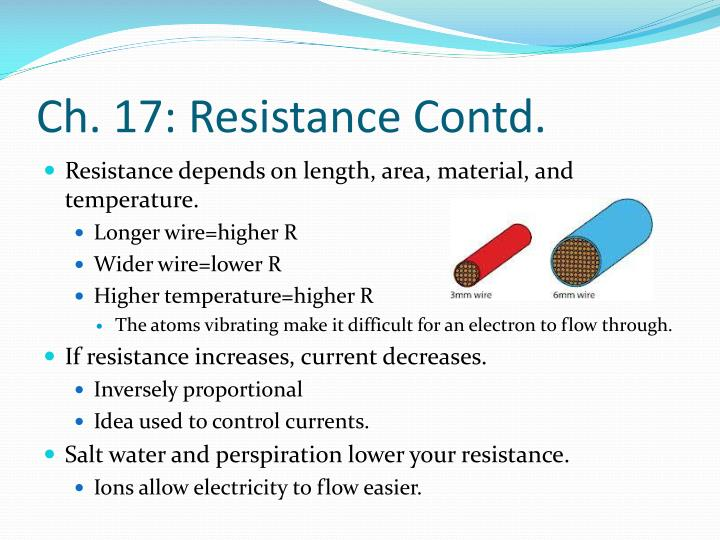 Ch. 17: Resistance Contd.