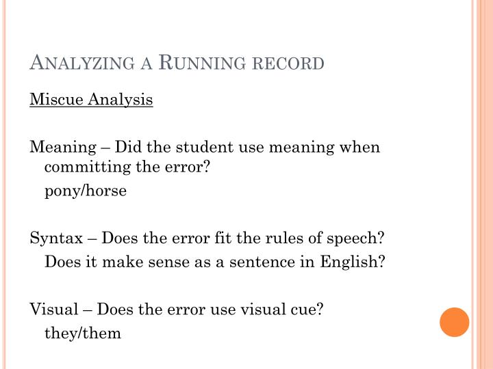 Analyzing a Running record